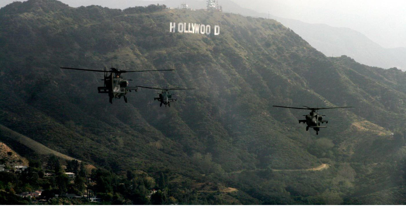 Helicopters over Hollywood Hills